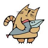 Χαριτωμένη συρμένη γάτα που ονειρεύεται τα ψάρια Στοκ Εικόνες
