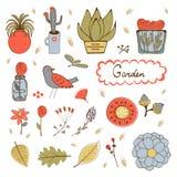 Χαριτωμένη συρμένη χέρι συλλογή των εγκαταστάσεων, των λουλουδιών και των twings σπιτιών Στοκ εικόνα με δικαίωμα ελεύθερης χρήσης