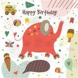 Χαριτωμένη συρμένη χέρι doodle κάρτα με τον ελέφαντα Στοκ φωτογραφίες με δικαίωμα ελεύθερης χρήσης