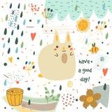 Χαριτωμένη συρμένη χέρι doodle κάρτα ντους μωρών Στοκ Φωτογραφία