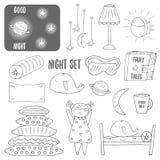 Χαριτωμένη συρμένη χέρι doodle νύχτα, συλλογή αντικειμένων θέματος ύπνου Στοκ Εικόνα