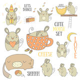 Χαριτωμένη συρμένη χέρι doodle συλλογή ποντικιών Στοκ φωτογραφία με δικαίωμα ελεύθερης χρήσης