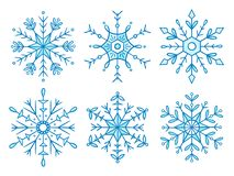 Χαριτωμένη συρμένη χέρι snowflake συλλογή ελεύθερη απεικόνιση δικαιώματος