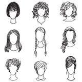 Χαριτωμένη συλλογή προσώπων κοριτσιών Είδωλα γυναικών καθορισμένα απεικόνιση αποθεμάτων
