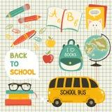 Χαριτωμένη συλλογή σχολικών κινούμενων σχεδίων διανυσματική απεικόνιση