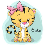 χαριτωμένη τίγρη κινούμενων διανυσματική απεικόνιση