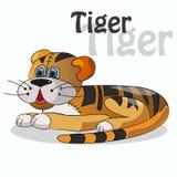 Χαριτωμένη τίγρη σε ένα άσπρο υπόβαθρο επίσης corel σύρετε το διάνυσμα απεικόνισης στοκ εικόνες