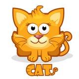 Χαριτωμένη τετραγωνική γάτα κινούμενων σχεδίων Στοκ εικόνες με δικαίωμα ελεύθερης χρήσης