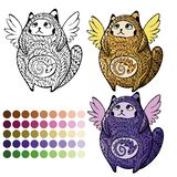 Χαριτωμένη φτερωτή γάτα για το χρωματισμό απεικόνιση αποθεμάτων