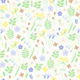 Χαριτωμένη χλόη λιβαδιών και άνευ ραφής διανυσματικό υπόβαθρο λουλουδιών Στοκ Φωτογραφία