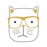 Χαριτωμένη Handdrawn διανυσματική απεικόνιση γατών Στοκ εικόνα με δικαίωμα ελεύθερης χρήσης