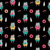 Χαριτωμένη Handdrawn διανυσματική απεικόνιση σχεδίων γατών άνευ ραφής Στοκ Εικόνες
