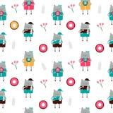 Χαριτωμένη Handdrawn διανυσματική απεικόνιση σχεδίων γατών άνευ ραφής Στοκ Εικόνα