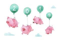 Χαριτωμένη piggy χρωματισμένη χέρι απεικόνιση watercolor Τέσσερις χοίροι που πετούν στα μπαλόνια πέρα από τον ουρανό Σύμβολο του  στοκ φωτογραφία με δικαίωμα ελεύθερης χρήσης