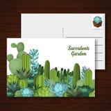 Χαριτωμένη succulent διανυσματική κάρτα Στοκ εικόνες με δικαίωμα ελεύθερης χρήσης