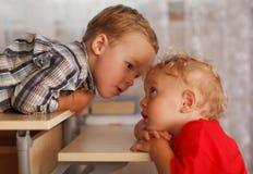 Χαριτωμένοι αμφιθαλείς. Δύο μικροί αδελφοί. στοκ φωτογραφίες