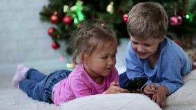 Χαριτωμένοι αμφιθαλείς που προσέχουν κάτι αστείο στο κινητό τηλέφωνο κοντά στο χριστουγεννιάτικο δέντρο φιλμ μικρού μήκους