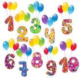 Χαριτωμένοι αριθμοί με τα μπαλόνια Στοκ φωτογραφία με δικαίωμα ελεύθερης χρήσης