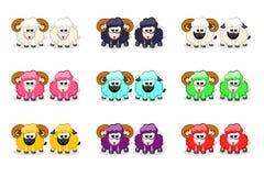 Χαριτωμένοι αστείοι χρωματισμένοι πρόβατα και κριός κινούμενων σχεδίων απεικόνιση αποθεμάτων