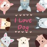 Χαριτωμένοι, αστείοι, όμορφοι χαρακτήρες σκυλιών απεικόνιση αποθεμάτων