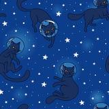 Χαριτωμένοι γάτα-αστροναύτες doodle που επιπλέουν στο διάστημα Στοκ Φωτογραφίες