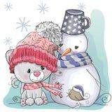 Χαριτωμένοι γατάκι και χιονάνθρωπος απεικόνιση αποθεμάτων