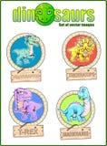 Χαριτωμένοι δεινόσαυροι, σύνολο αστείων διανυσματικών εικόνων ελεύθερη απεικόνιση δικαιώματος