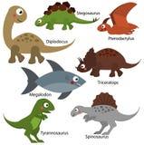 Χαριτωμένοι δεινόσαυροι καθορισμένοι Χαρακτήρες του Dino κινούμενων σχεδίων, απομονωμένα στοιχεία για το σχέδιο παιδιών Diplodocu διανυσματική απεικόνιση
