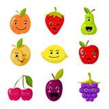 Χαριτωμένοι διανυσματικοί χαρακτήρες φρούτων παιδιών με τα αστεία πρόσωπα χαμόγελου διανυσματική απεικόνιση