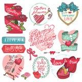 χαριτωμένοι καθορισμένοι βαλεντίνοι ροζέτων σχεδίου ημέρας σας Εμβλήματα, ετικέτες, πλαίσια Στοκ Φωτογραφίες