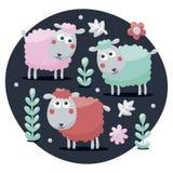 Χαριτωμένοι καθορισμένοι πρόβατα, λουλούδια, ζώα, φυτά και βολβοί Στοκ Εικόνες
