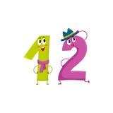 Χαριτωμένοι και αστείοι ζωηρόχρωμοι χαρακτήρες 12 αριθμών, χαιρετισμοί γενεθλίων Στοκ Εικόνες