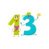 Χαριτωμένοι και αστείοι ζωηρόχρωμοι χαρακτήρες 13 αριθμών, χαιρετισμοί γενεθλίων Στοκ Εικόνα