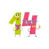 Χαριτωμένοι και αστείοι ζωηρόχρωμοι χαρακτήρες 14 αριθμών, χαιρετισμοί γενεθλίων Στοκ φωτογραφία με δικαίωμα ελεύθερης χρήσης