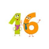 Χαριτωμένοι και αστείοι ζωηρόχρωμοι χαρακτήρες 16 αριθμών, χαιρετισμοί γενεθλίων Στοκ Εικόνες