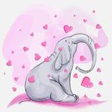 Χαριτωμένοι ρόδινοι ελέφαντας και καρδιές διανυσματική απεικόνιση