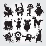 Χαριτωμένοι χαρακτήρες κινουμένων σχεδίων τεράτων καθορισμένοι Στοκ Φωτογραφίες