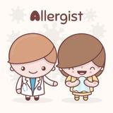 Χαριτωμένοι χαρακτήρες kawaii chibi Επαγγέλματα αλφάβητου Το γράμμα Α - Allergist Στοκ Εικόνες