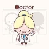 Χαριτωμένοι χαρακτήρες kawaii chibi Επαγγέλματα αλφάβητου Γράμμα Δ - γιατρός Διανυσματική απεικόνιση