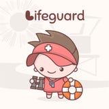 Χαριτωμένοι χαρακτήρες kawaii chibi Επαγγέλματα αλφάβητου Γράμμα Λ - Lifeguard Ελεύθερη απεικόνιση δικαιώματος