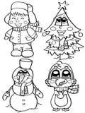 Χαριτωμένοι χειμερινοί χαρακτήρες Στοκ φωτογραφία με δικαίωμα ελεύθερης χρήσης