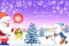 Χαριτωμένοι χιονάνθρωπος και Άγιος Βασίλης που απολαμβάνουν Χριστούγεννα - διανυσματικό eps10 διανυσματική απεικόνιση