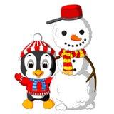 Χαριτωμένοι Penguin και χιονάνθρωπος ελεύθερη απεικόνιση δικαιώματος
