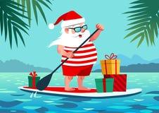 Χαριτωμένος Άγιος Βασίλης στον πίνακα κουπιών με τα δώρα ενάντια στο τροπικό oce απεικόνιση αποθεμάτων