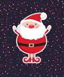 Χαριτωμένος Άγιος Βασίλης στο σκοτεινό υπόβαθρο διακοσμήσεων Χριστουγέννων με το κομφετί ελεύθερη απεικόνιση δικαιώματος