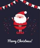 Χαριτωμένος Άγιος Βασίλης στο σκοτεινό υπόβαθρο διακοσμήσεων Χριστουγέννων με το κομφετί απεικόνιση αποθεμάτων