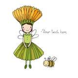Χαριτωμένος λίγα νεράιδα και bumblebee Στοκ εικόνες με δικαίωμα ελεύθερης χρήσης