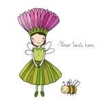 Χαριτωμένος λίγα νεράιδα και bumblebee Στοκ φωτογραφία με δικαίωμα ελεύθερης χρήσης