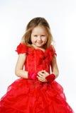 Χαριτωμένος λίγη πριγκήπισσα που ντύνεται στον κόκκινο χορό απομονωμένος στο άσπρο β Στοκ φωτογραφία με δικαίωμα ελεύθερης χρήσης