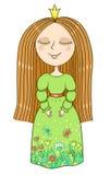 Χαριτωμένος λίγη πριγκήπισσα στο πράσινο φόρεμα Στοκ Φωτογραφία